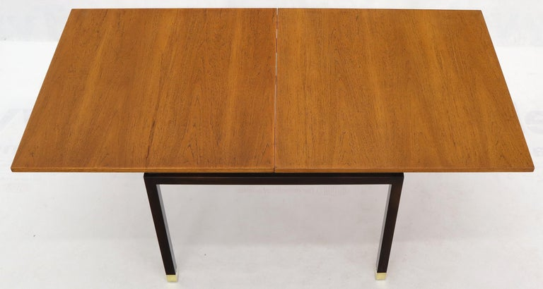 Flip Top Expandable Square Game Table on Parsons Ebonized legs with Brass Tips For Sale 4