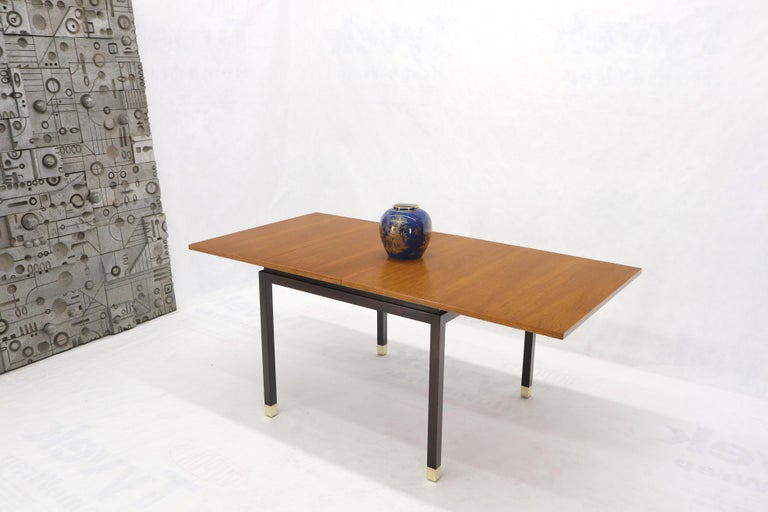 Flip Top Expandable Square Game Table on Parsons Ebonized legs with Brass Tips For Sale 7