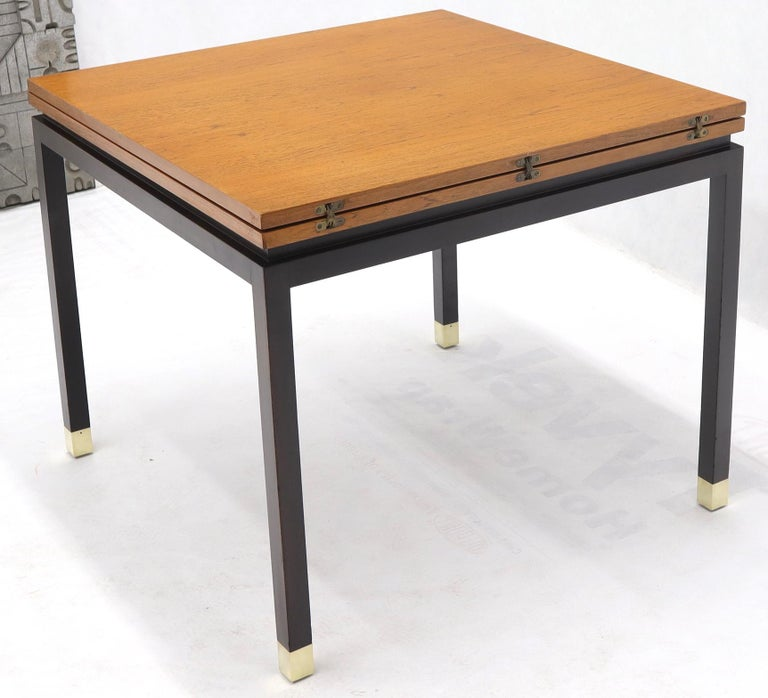 Flip Top Expandable Square Game Table on Parsons Ebonized legs with Brass Tips For Sale 8