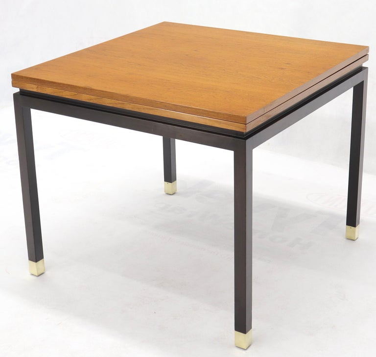 American Flip Top Expandable Square Game Table on Parsons Ebonized legs with Brass Tips For Sale