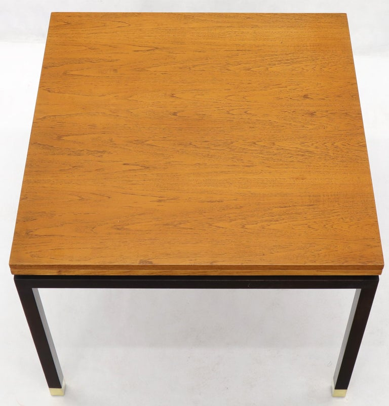 Flip Top Expandable Square Game Table on Parsons Ebonized legs with Brass Tips In Excellent Condition For Sale In Rockaway, NJ