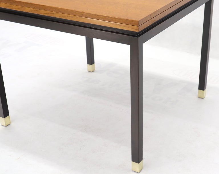 20th Century Flip Top Expandable Square Game Table on Parsons Ebonized legs with Brass Tips For Sale