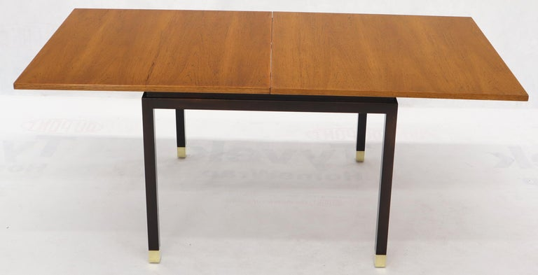 Flip Top Expandable Square Game Table on Parsons Ebonized legs with Brass Tips For Sale 2
