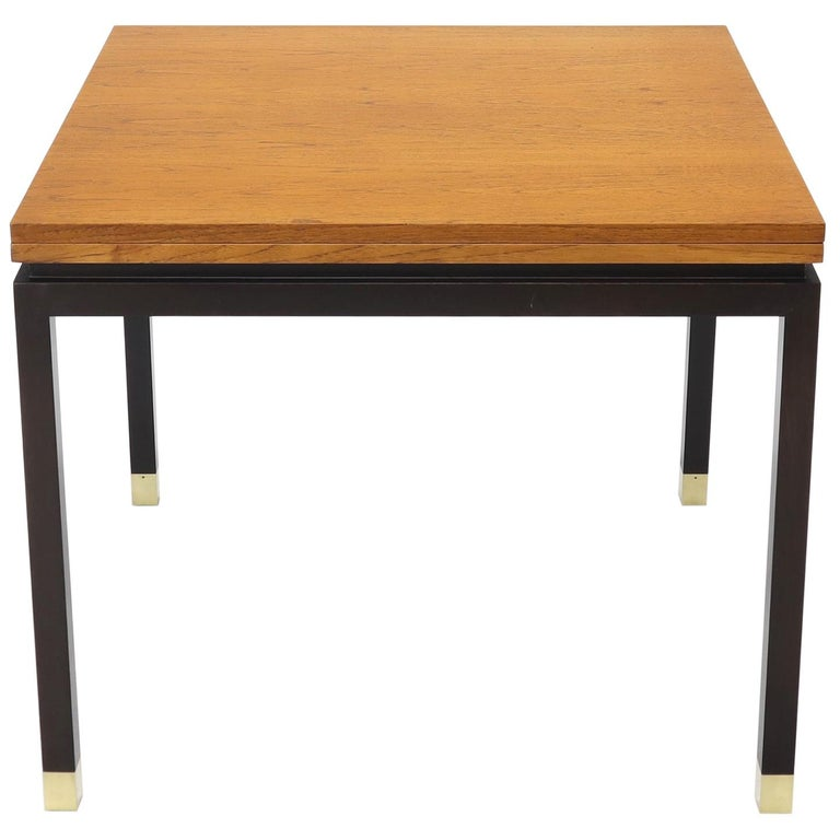 Flip Top Expandable Square Game Table on Parsons Ebonized legs with Brass Tips For Sale
