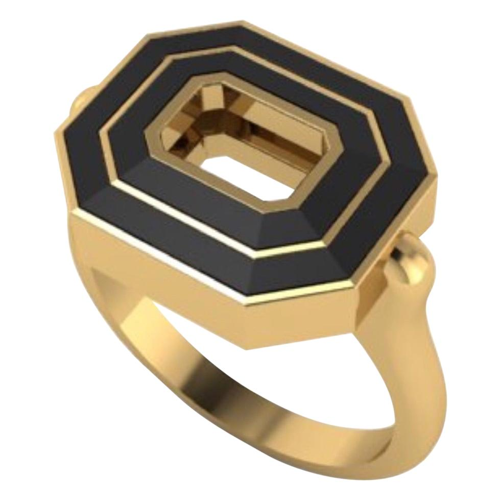 Flip Top Gold and Black Enamel Ring