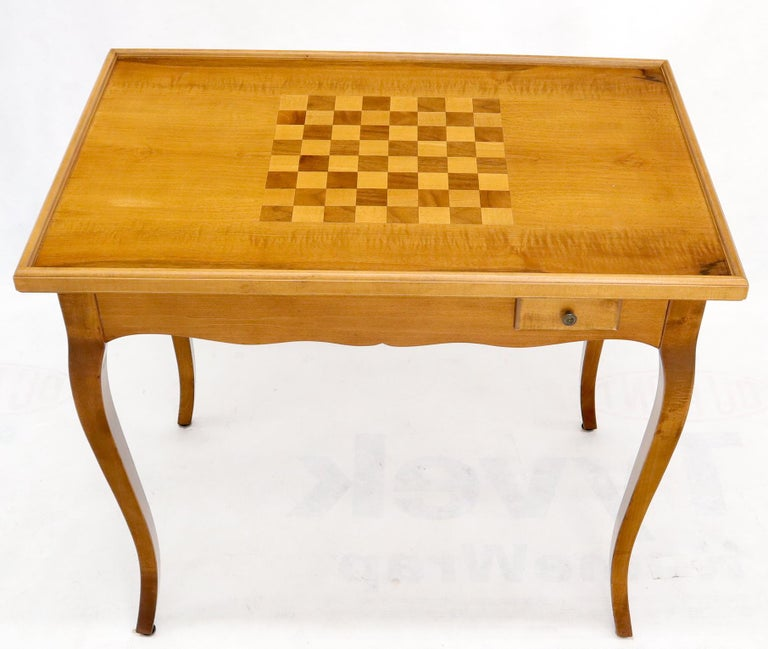 Mid-Century Modern Flip Top Italian Chess Backgammon Game Table with Drawers For Sale