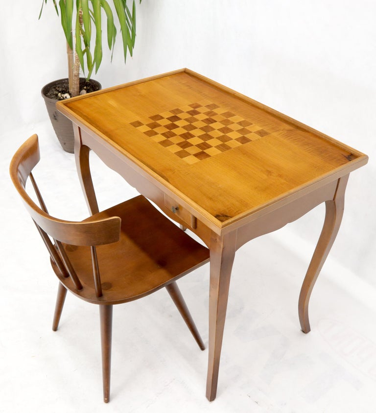 Cherry Flip Top Italian Chess Backgammon Game Table with Drawers For Sale