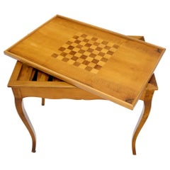 Flip Top Italian Chess Backgammon Game Table with Drawers
