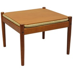 Flip Top Midcentury Danish Modern Convertible Teak Side Table or Stool