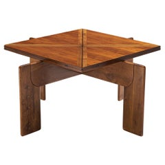Flip Top Square Table in Italian Walnut