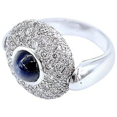 Flippable 2-Faced Double-Faced Cabochon Sapphire Diamond Pavé Gold Ring