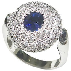 Flippable Double-Faced Two-Faced Oval Sapphire Diamond Pavé 18 Karat Gold Ring