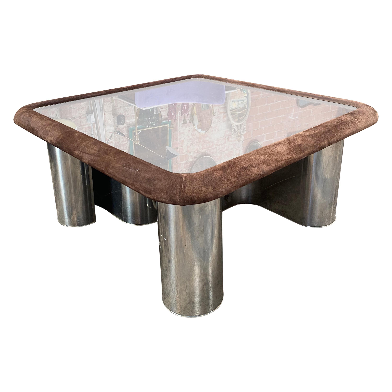 F.Lli Saporiti Mid-Century Modern Italian Chrome Coffee Table, 1970s