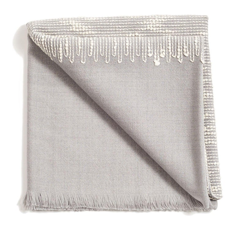Yarn FLO Grey Handloom & Hand Embroidered Throw / Blanket In Merino For Sale