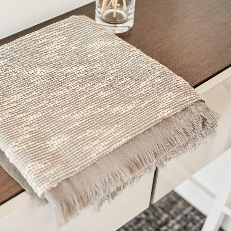 Contemporary FLO Grey Handloom Throw / Blanket For Sale