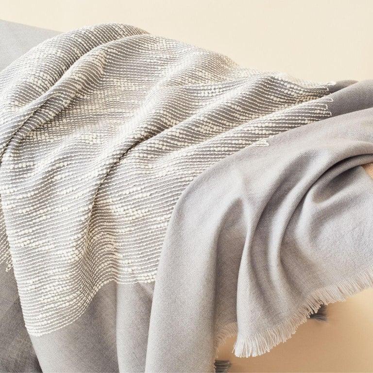 Nepalese FLO Grey Handloom Throw / Blanket For Sale