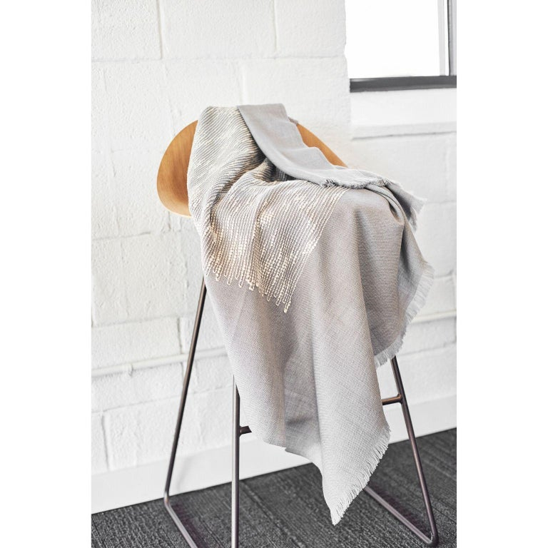 FLO Grey Handloom & Hand Embroidered Throw / Blanket In Merino For Sale 3