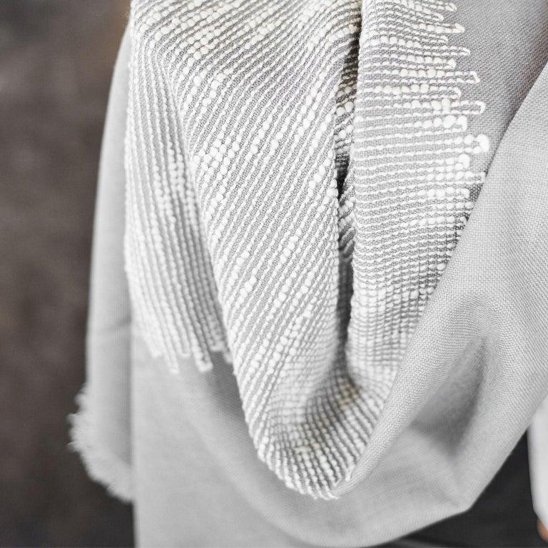 FLO Grey Handloom Throw / Blanket For Sale 1