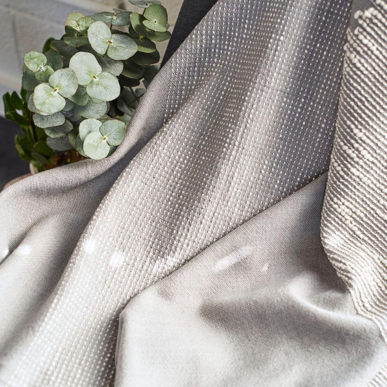 FLO Grey Handloom & Hand Embroidered Throw / Blanket In Merino For Sale 5