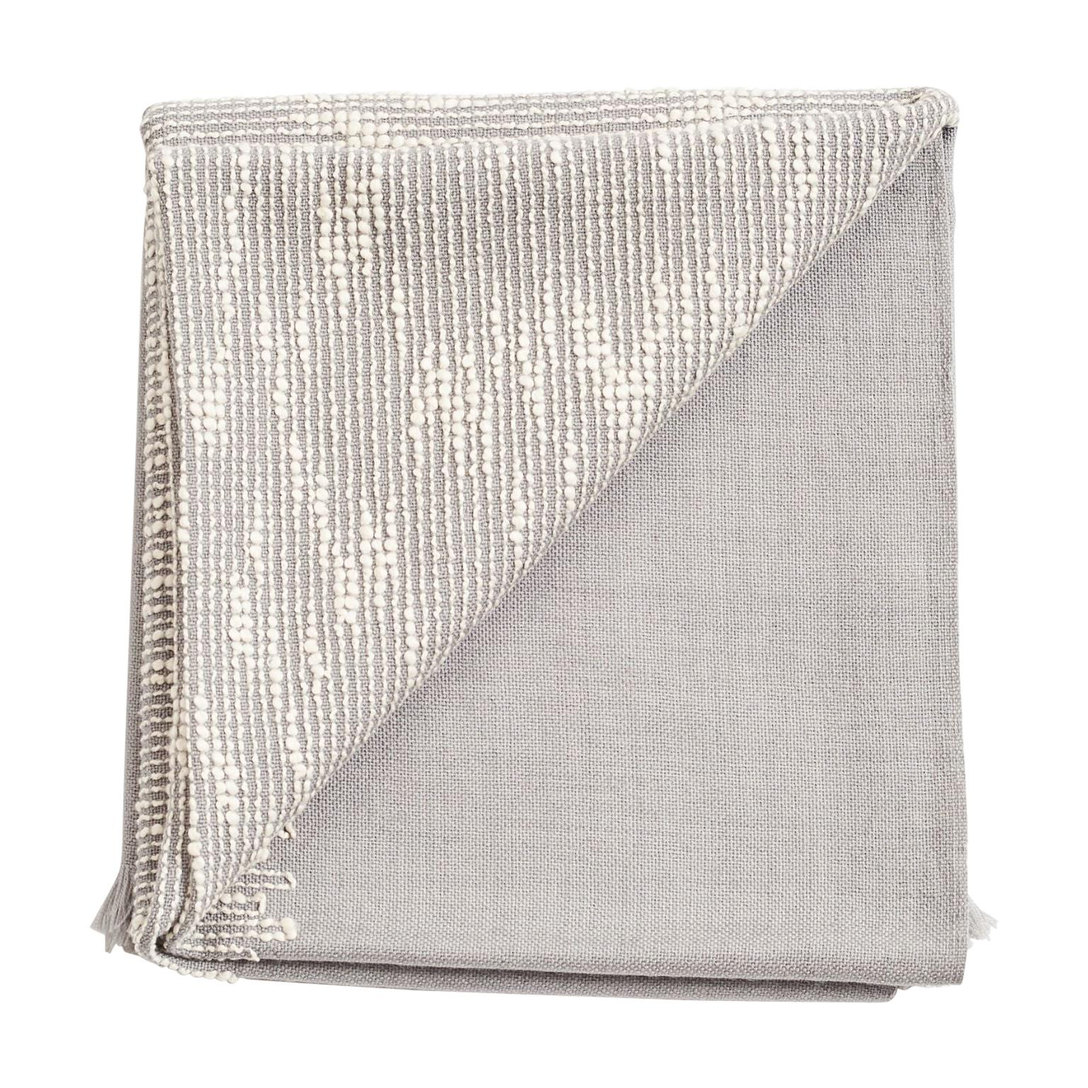 FLO Grey Handloom & Hand Embroidered Throw / Blanket In Merino