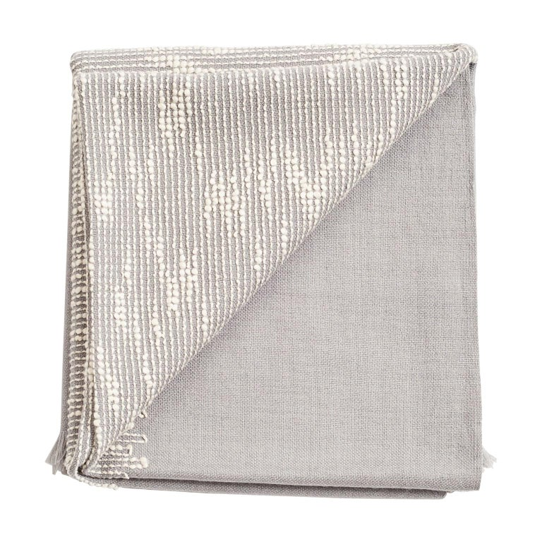 FLO Grey Handloom & Hand Embroidered Throw / Blanket In Merino For Sale