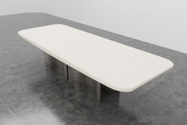 Bleached FLOAT DINING TABLE - Modern Wooden Dinning Table with Silver Bases For Sale