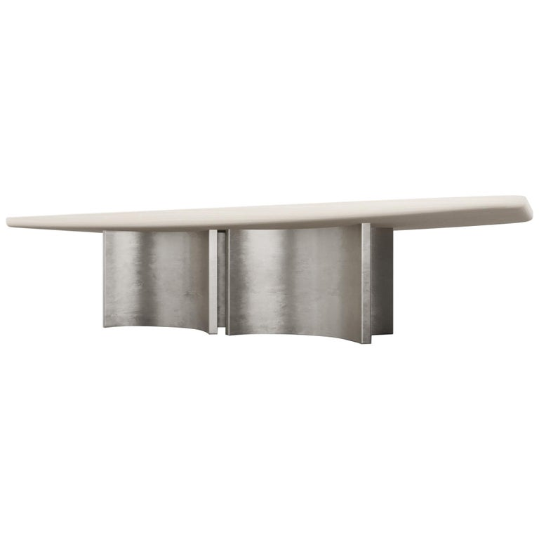 FLOAT DINING TABLE - Modern Wooden Dinning Table with Silver Bases For Sale