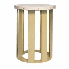 Float Side Table in Lemon Yellow Base and Cobble Beige Surface