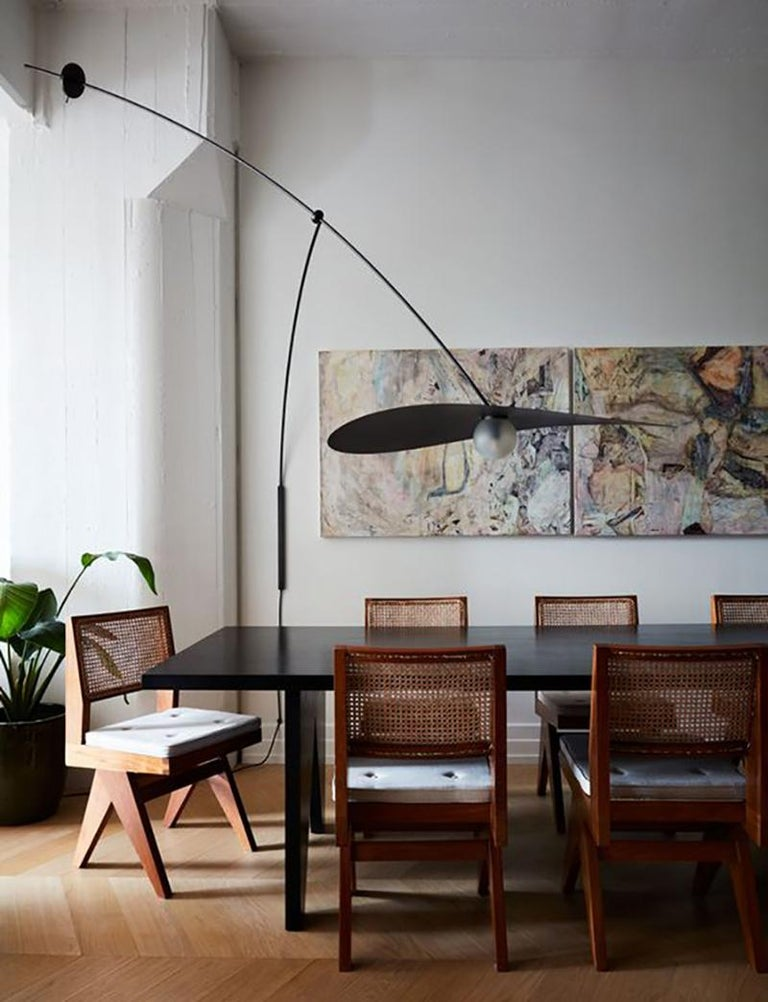 L&G Studio is proud to present a Myrna, capturing a moment of suspension in space.  The Myrna Wall Mounted light is a large scale light sculpture suspended from the wall and carefully balanced on an articulating, adjustable arm. The height of the
