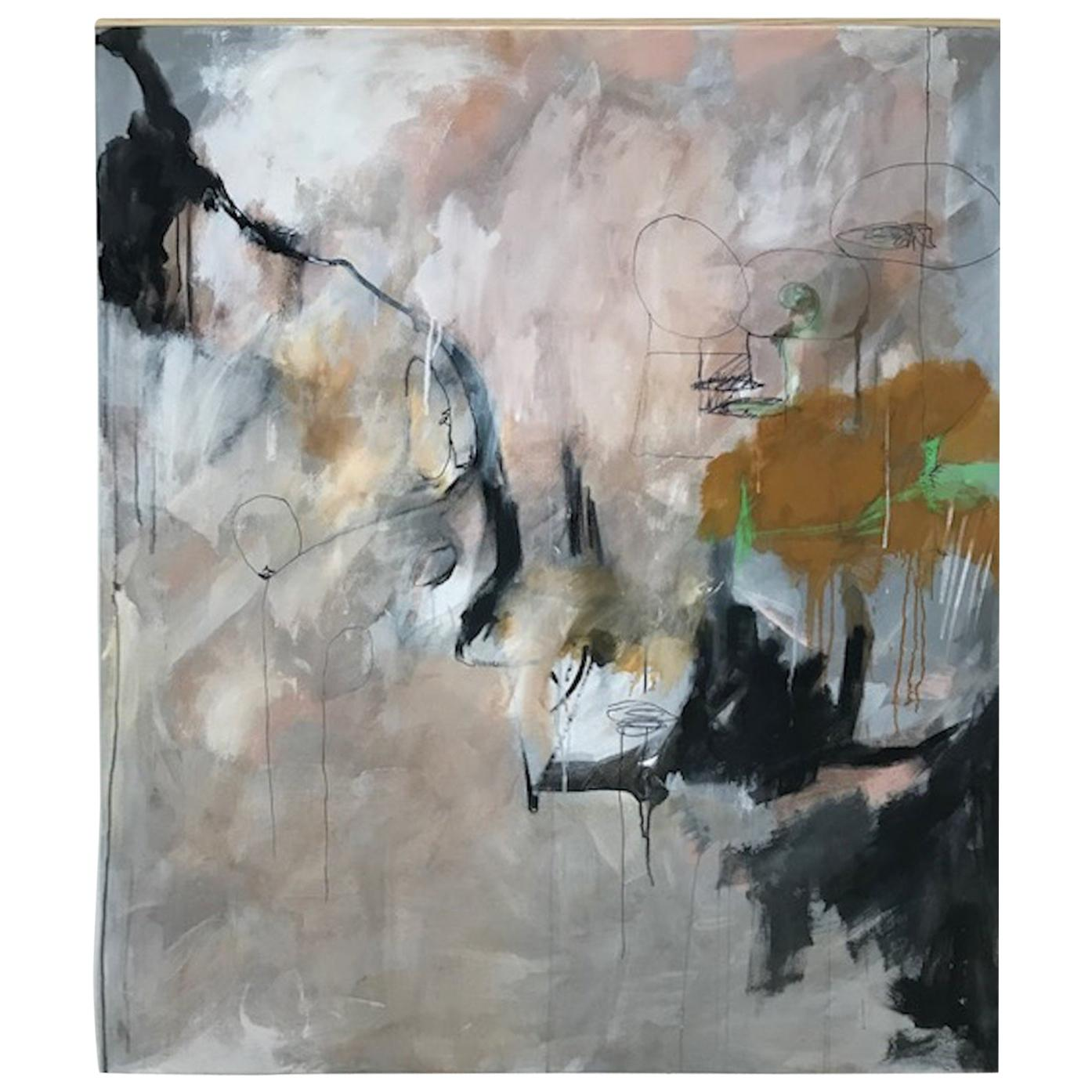"""""""Floating,"""" 2020 a Large Framed Abstract Oil on Canvas by Kathi Robinson Frank"""