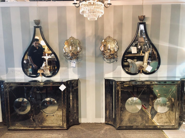 Floating Art Deco Concave Side Double Door Mirrored Cabinets / Console Table In Fair Condition For Sale In Stamford, CT
