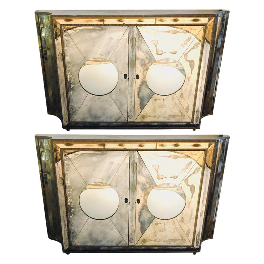 Floating Art Deco Concave Side Double Door Mirrored Cabinets / Console Table