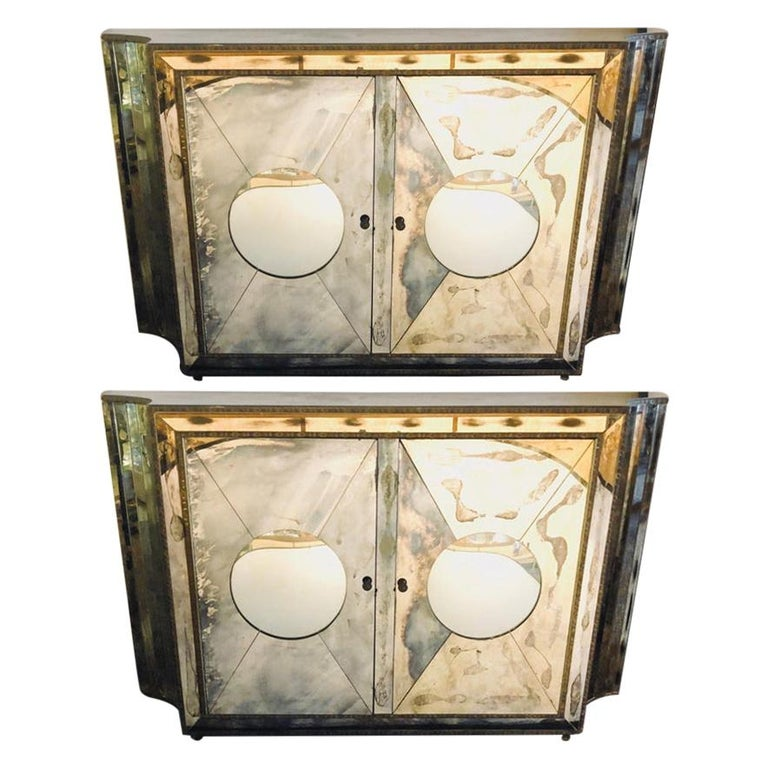 Floating Art Deco Concave Side Double Door Mirrored Cabinets / Console Table For Sale