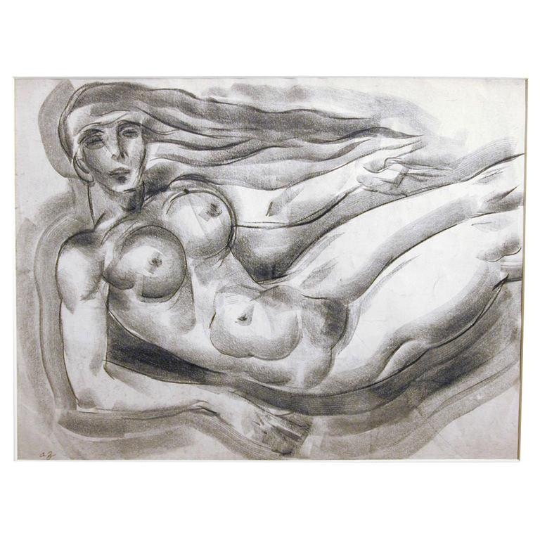 Floating Art Deco Nude, Drawing by Zaidenberg For Sale