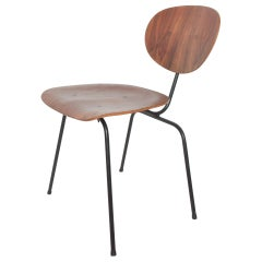 Floating Bent Plywood Chair on Curved Black Iron Frame Modern Eames Style, 1950s
