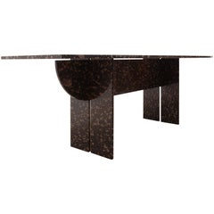 Floating Black and Gold Marble Dining, Conference Table, 1970s, Italy
