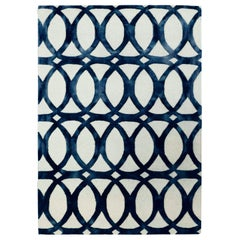 Floating Blue Hand Woven Modern Rug by Deanna Comellini 150x200 cm
