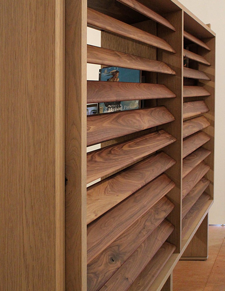 American Floating Bookcase in Natural Walnut and Oak with Adjustable Louvers For Sale