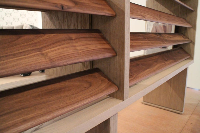 Floating Bookcase in Natural Walnut and Oak with Adjustable Louvers For Sale 1