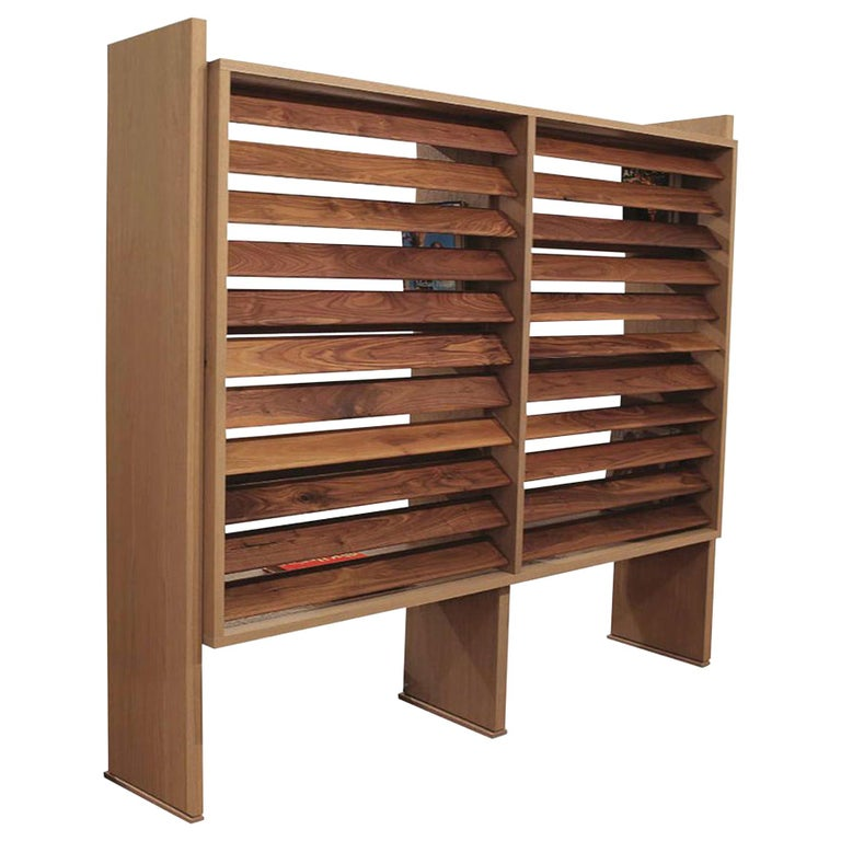 Floating Bookcase in Natural Walnut and Oak with Adjustable Louvers For Sale