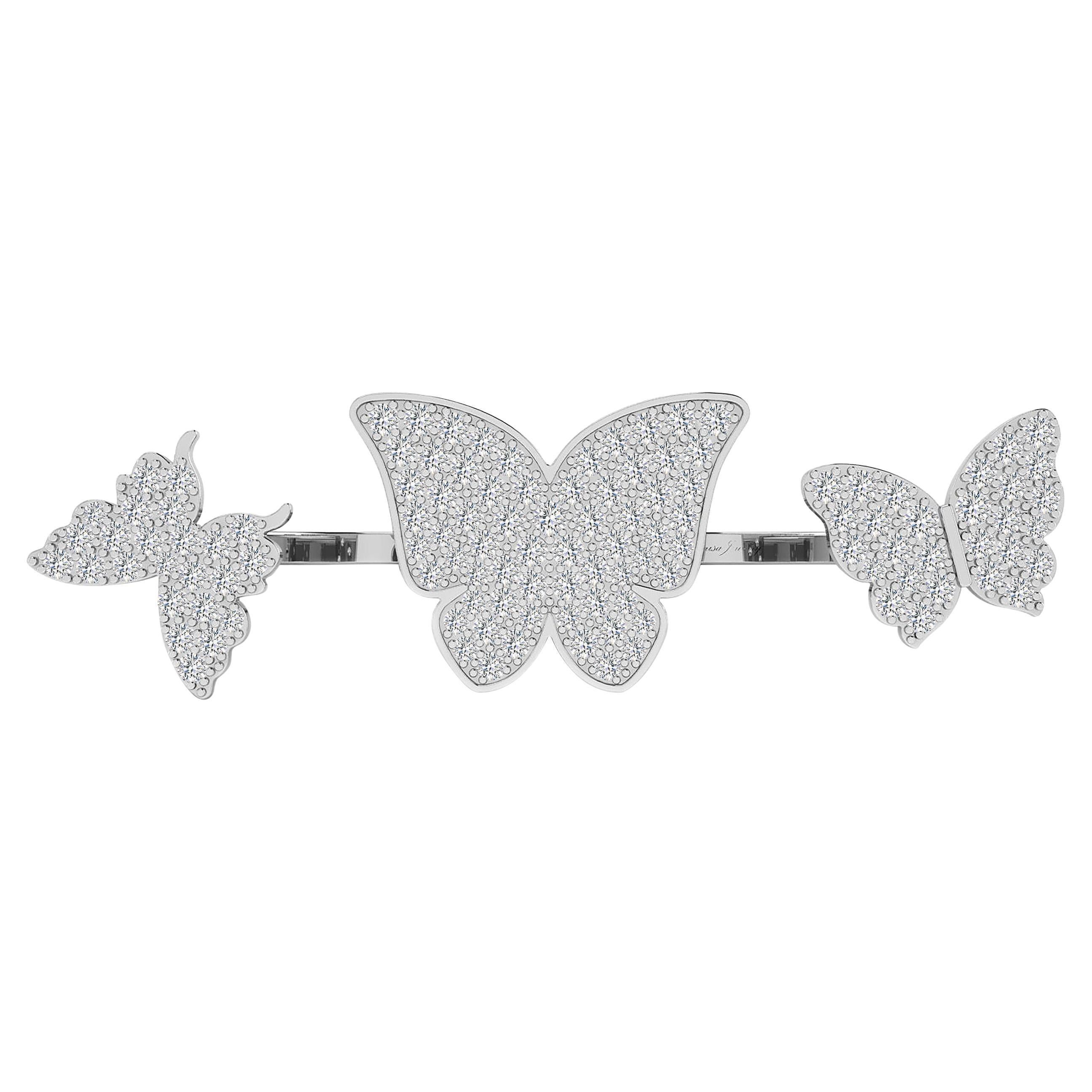 Floating Butterflies 2 in 1 Ring with Diamond in 18 Karat White Gold