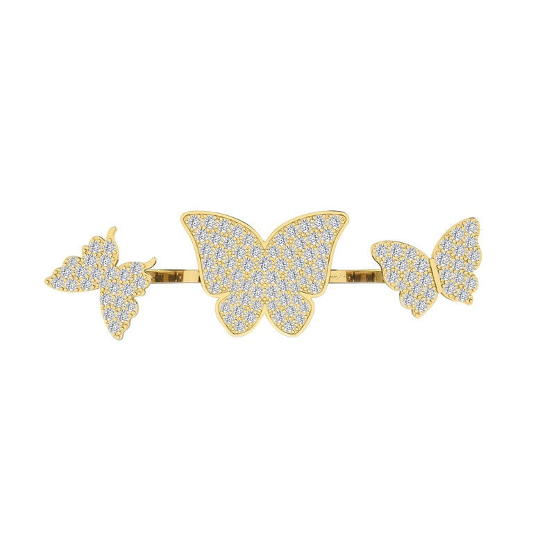 Round Cut Floating Butterflies 2 in 1 Ring with Diamond in 18 Karat Yellow Gold For Sale