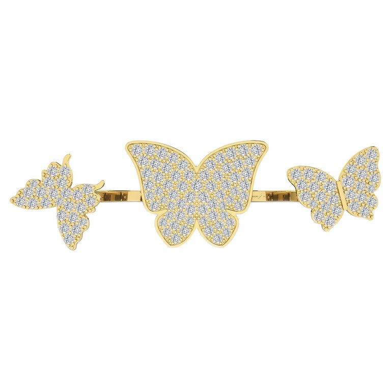 Floating Butterflies 2 in 1 Ring with Diamond in 18 Karat Yellow Gold For Sale