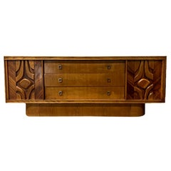 Floating Carved Door Brutalist Cabinet Credenza with Shelves and Drawers 1970