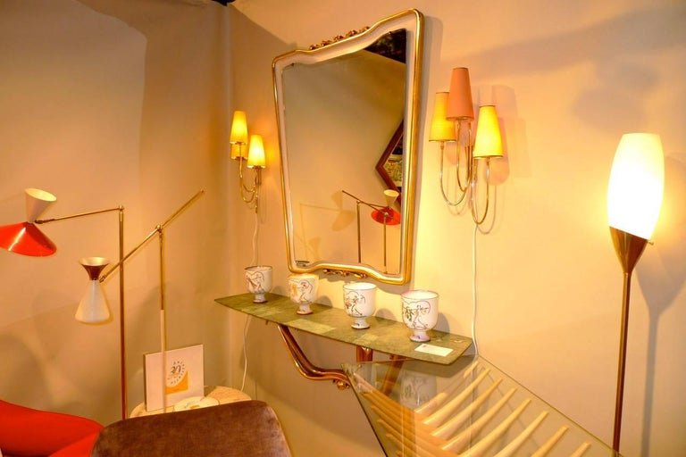 Floating Console & Mirror by Osvaldo Borsani For Sale 13