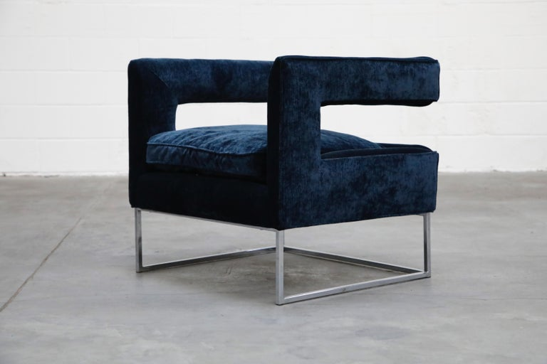 Mid-Century Modern Floating Cubist Armchair by Flair for Bernhardt, Style of Milo Baughman, 1970s For Sale