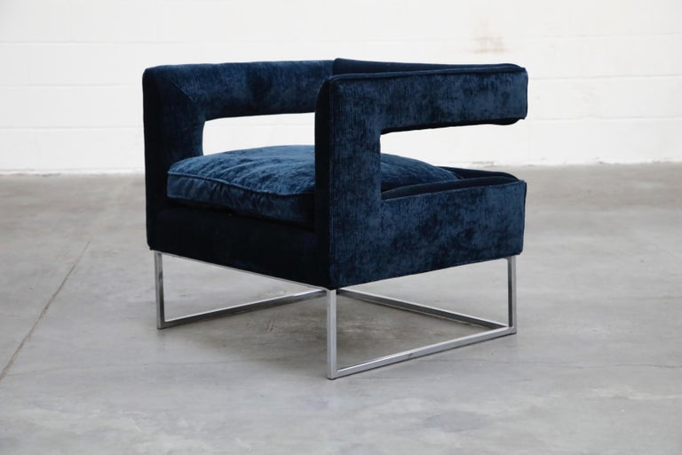 American Floating Cubist Armchair by Flair for Bernhardt, Style of Milo Baughman, 1970s For Sale