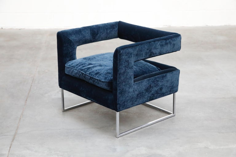 Floating Cubist Armchair by Flair for Bernhardt, Style of Milo Baughman, 1970s In Excellent Condition For Sale In Los Angeles, CA