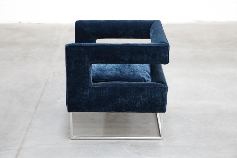 Late 20th Century Floating Cubist Armchair by Flair for Bernhardt, Style of Milo Baughman, 1970s For Sale