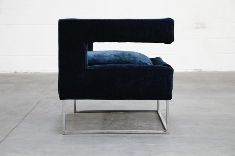 Upholstery Floating Cubist Armchair by Flair for Bernhardt, Style of Milo Baughman, 1970s For Sale